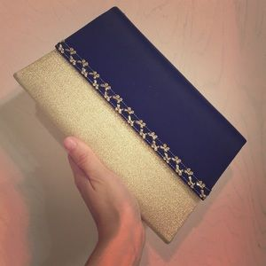 NEW vintage black and gold clutch